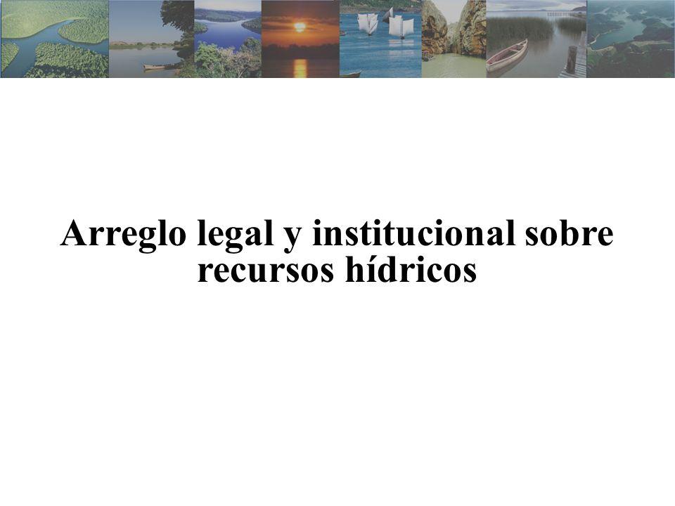 Código de Águas (Decreto n.º 24.643/1934 ) Constituição Federal de 1988 –Previó la creación del Sistema Nacional de Gestión de Gerenciamento de Recursos Hídricos – SINGREH –Definió agua como bien de la Unión o de los Estados Lei n.º 9.433/1997 –Creó el SINGREH - Estructura e Integrantes –Instituyó la Política Nacional de Recursos Hídricos Fundamentos, directrices e instrumentos de gestión Lei n.º 9.984/2000 –Creó la Agencia Nacional de Aguas – ANA –Implementar la Política Nacional de Recursos Hídricos Legislación sobre Recursos Hídricos