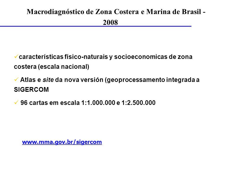 características físico-naturais y socioeconomicas de zona costera (escala nacional) Atlas e site da nova versión (geoprocessamento integrada a SIGERCO