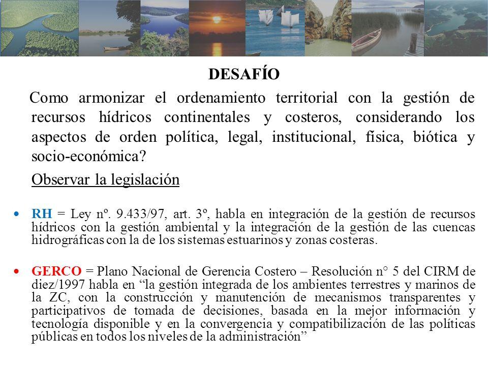 DESAFÍO Como armonizar el ordenamiento territorial con la gestión de recursos hídricos continentales y costeros, considerando los aspectos de orden po
