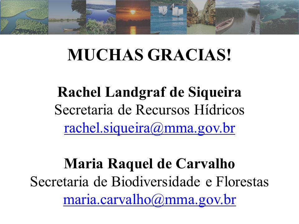 MUCHAS GRACIAS! Rachel Landgraf de Siqueira Secretaria de Recursos Hídricos rachel.siqueira@mma.gov.br Maria Raquel de Carvalho Secretaria de Biodiver