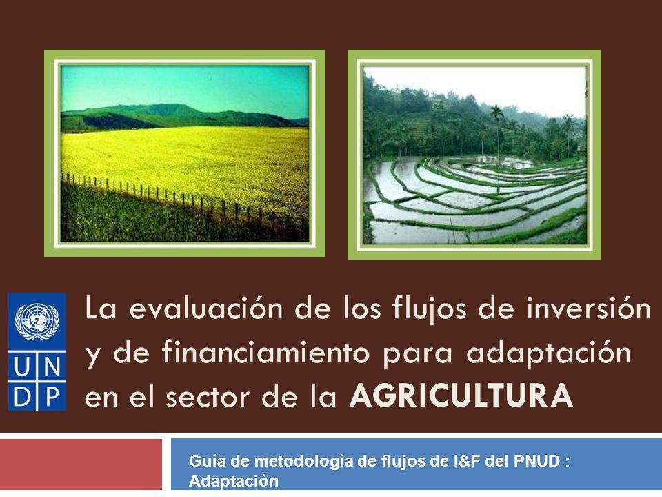 La evaluación de los flujos de inversión y de financiamiento para adaptación en el sector de la AGRICULTURA Guía de metodología de flujos de I&F del P