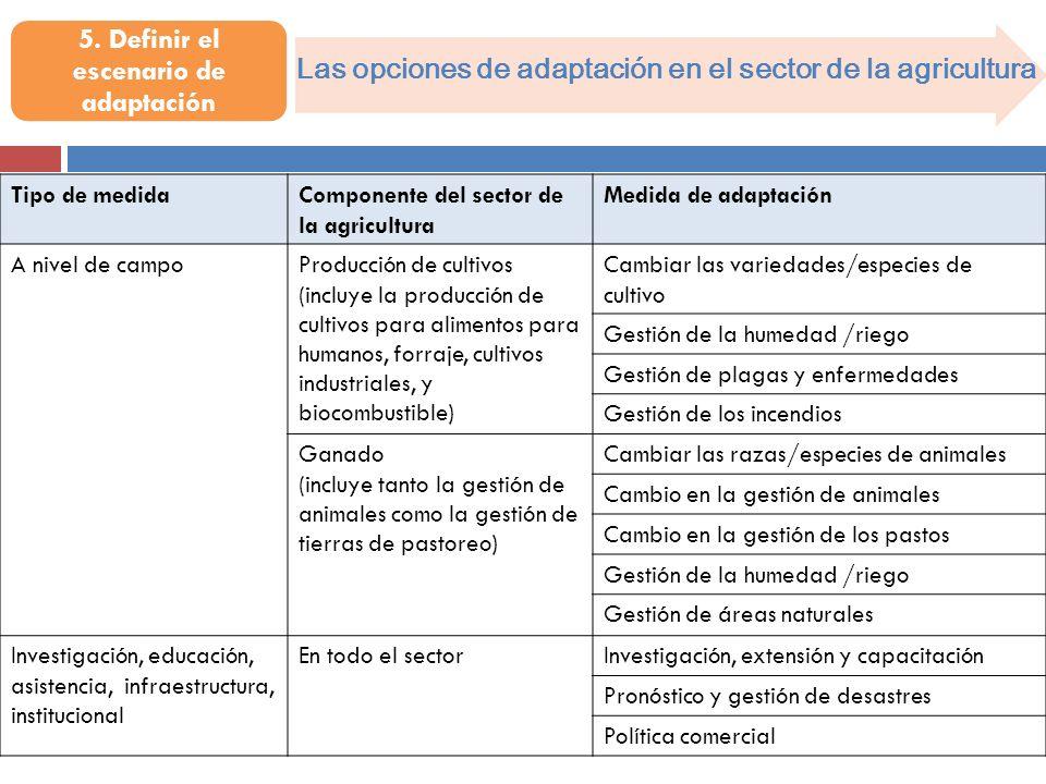 Las opciones de adaptación en el sector de la agricultura Tipo de medidaComponente del sector de la agricultura Medida de adaptación A nivel de campoP