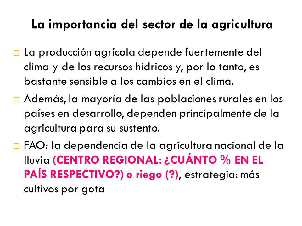 La importancia del sector de la agricultura La producción agrícola depende fuertemente del clima y de los recursos hídricos y, por lo tanto, es bastan