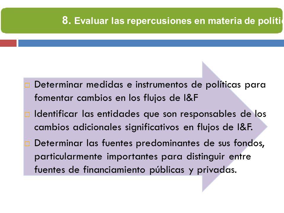 Determinar medidas e instrumentos de políticas para fomentar cambios en los flujos de I&F Identificar las entidades que son responsables de los cambio