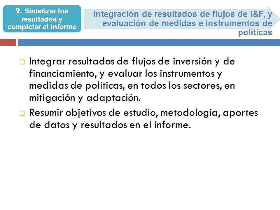 Integración de resultados de flujos de I&F, y evaluación de medidas e instrumentos de políticas 9. Sintetizar los resultados y completar el informe In