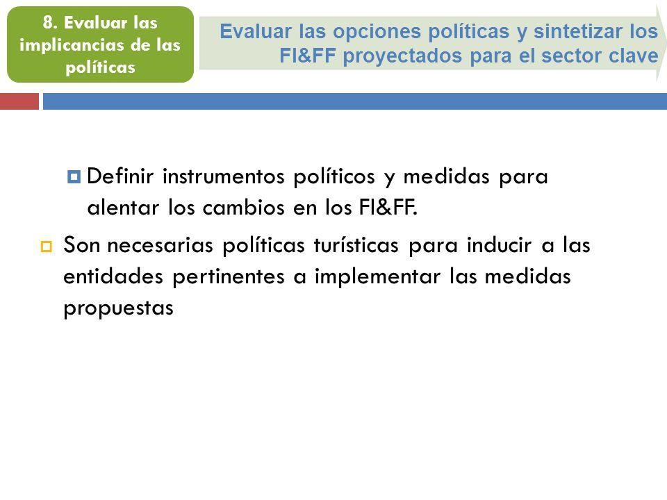 Evaluar las opciones políticas y sintetizar los FI&FF proyectados para el sector clave 8. Evaluar las implicancias de las políticas Definir instrument