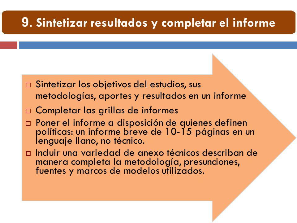 Sintetizar los objetivos del estudios, sus metodologías, aportes y resultados en un informe Completar las grillas de informes Poner el informe a dispo