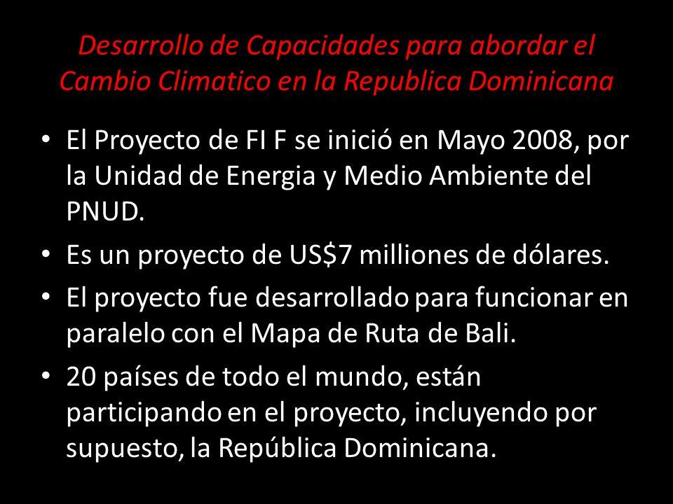 Desarrollo de Capacidades para abordar el Cambio Climatico en la Republica Dominicana El Proyecto de FI F se inició en Mayo 2008, por la Unidad de Energia y Medio Ambiente del PNUD.