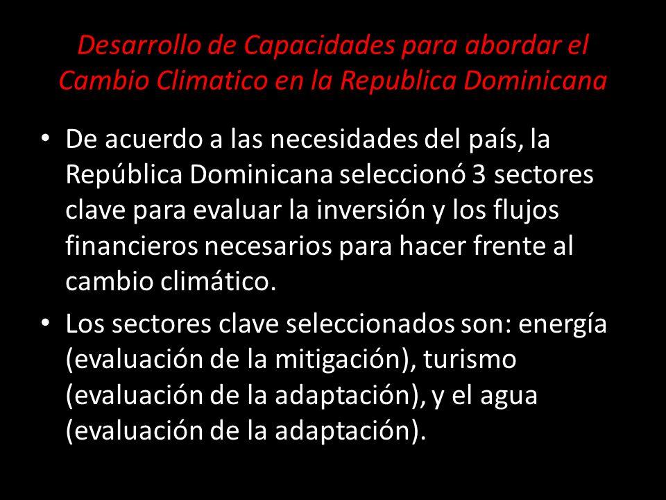 De acuerdo a las necesidades del país, la República Dominicana seleccionó 3 sectores clave para evaluar la inversión y los flujos financieros necesari