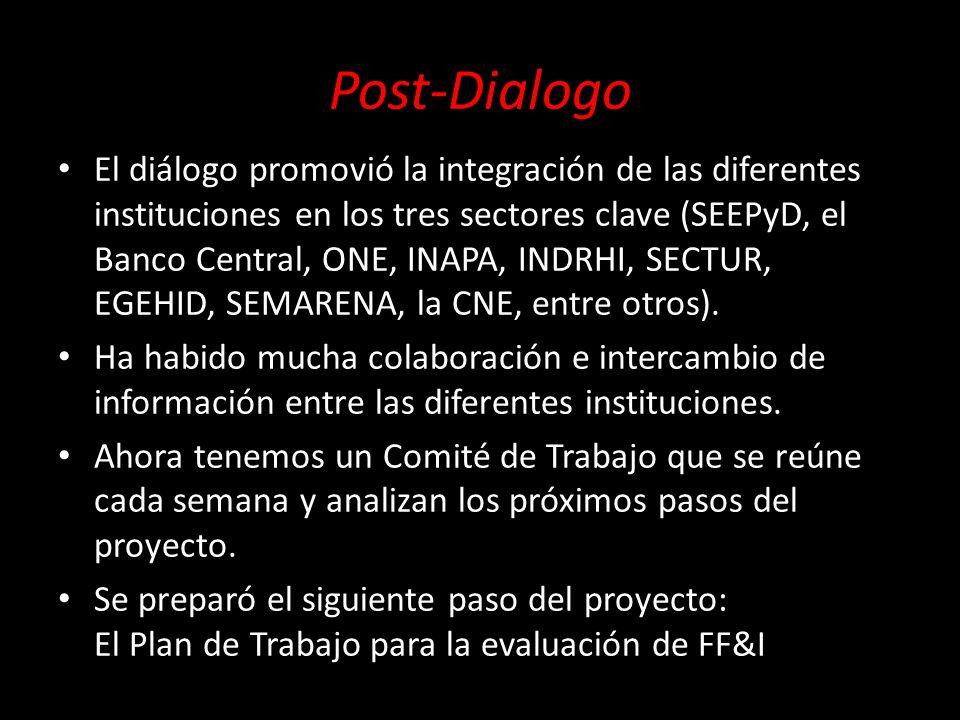 Post-Dialogo El diálogo promovió la integración de las diferentes instituciones en los tres sectores clave (SEEPyD, el Banco Central, ONE, INAPA, INDR