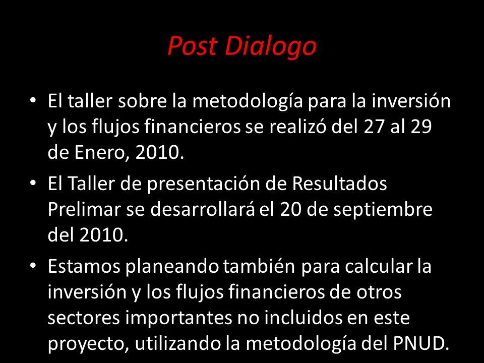 Post Dialogo El taller sobre la metodología para la inversión y los flujos financieros se realizó del 27 al 29 de Enero, 2010. El Taller de presentaci
