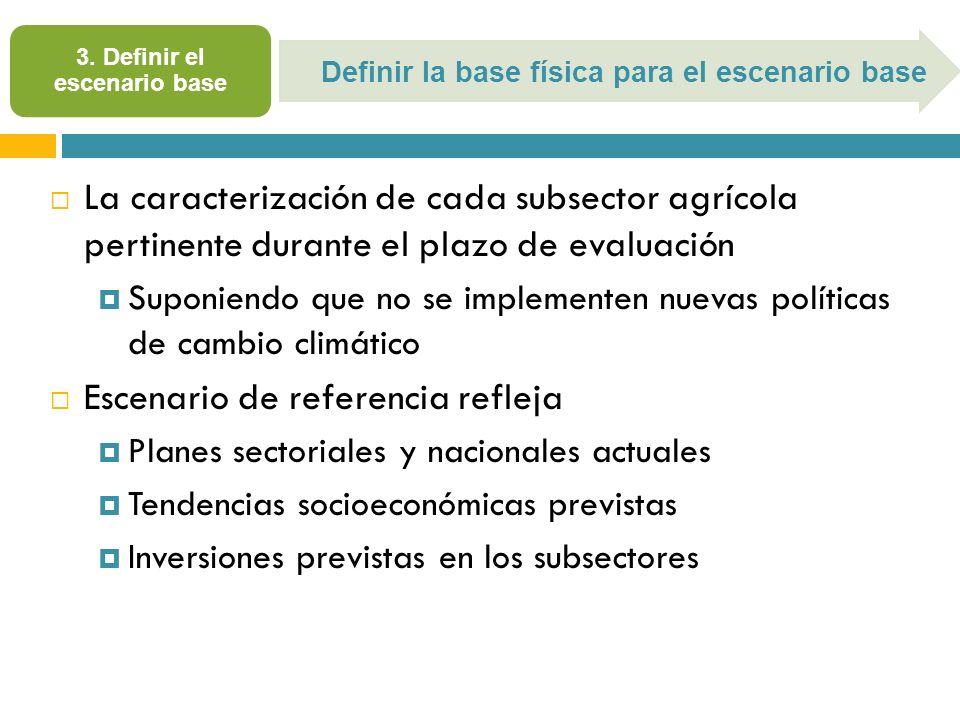 3. Definir el escenario base La caracterización de cada subsector agrícola pertinente durante el plazo de evaluación Suponiendo que no se implementen