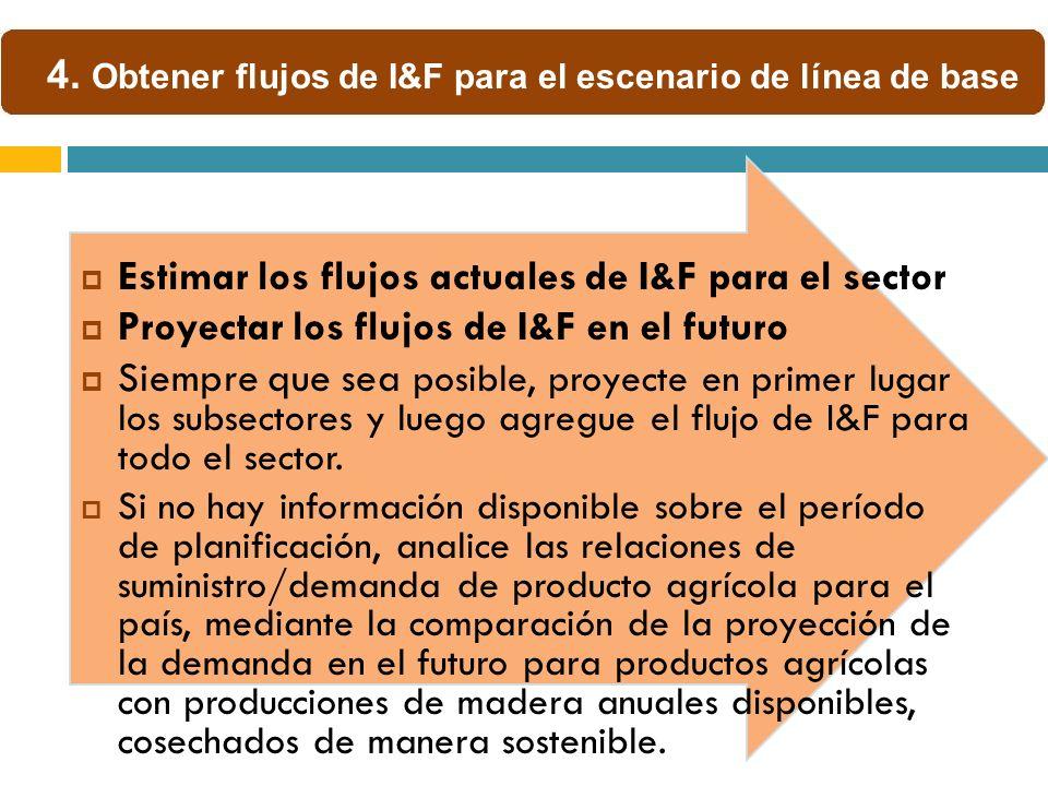 Estimar los flujos actuales de I&F para el sector Proyectar los flujos de I&F en el futuro Siempre que sea posible, proyecte en primer lugar los subsectores y luego agregue el flujo de I&F para todo el sector.
