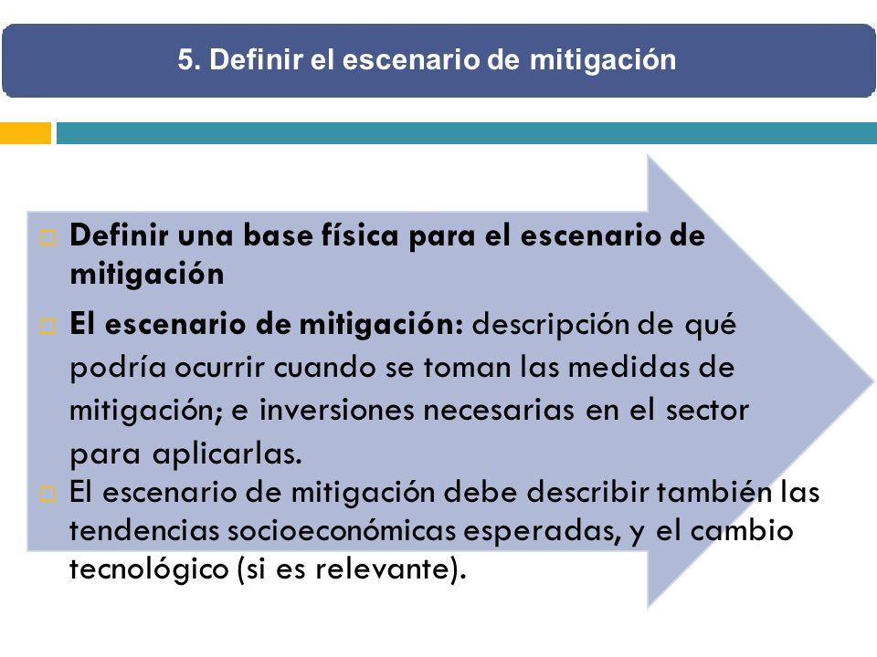 Definir una base física para el escenario de mitigación El escenario de mitigación: descripción de qué podría ocurrir cuando se toman las medidas de mitigación ; e inversiones necesarias en el sector para aplicarlas.