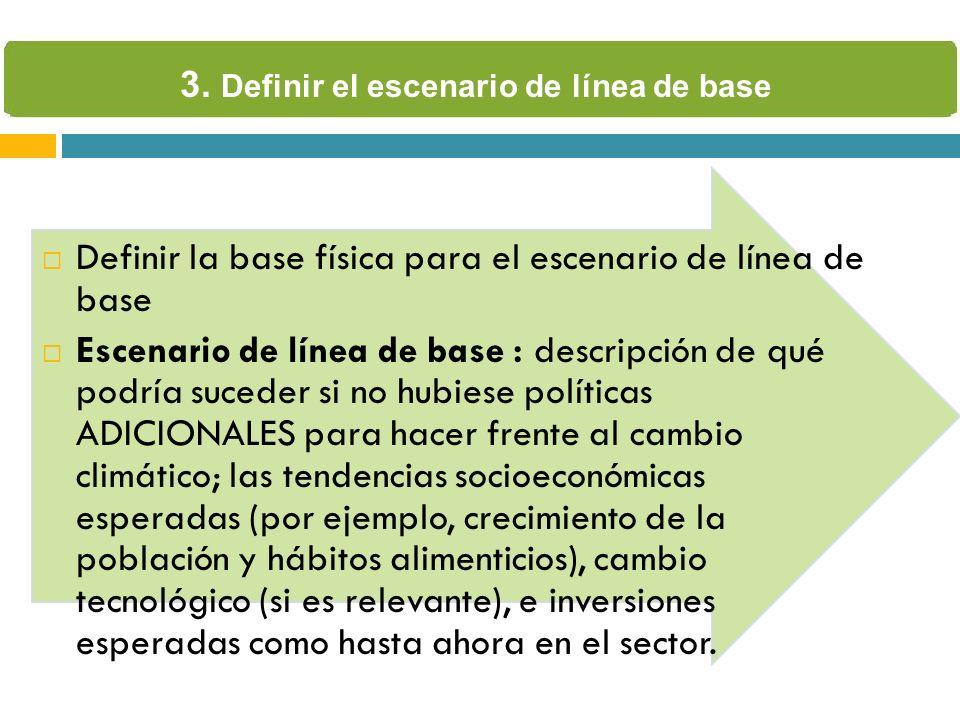 Definir la base física para el escenario de línea de base Escenario de línea de base : descripción de qué podría suceder si no hubiese políticas ADICI