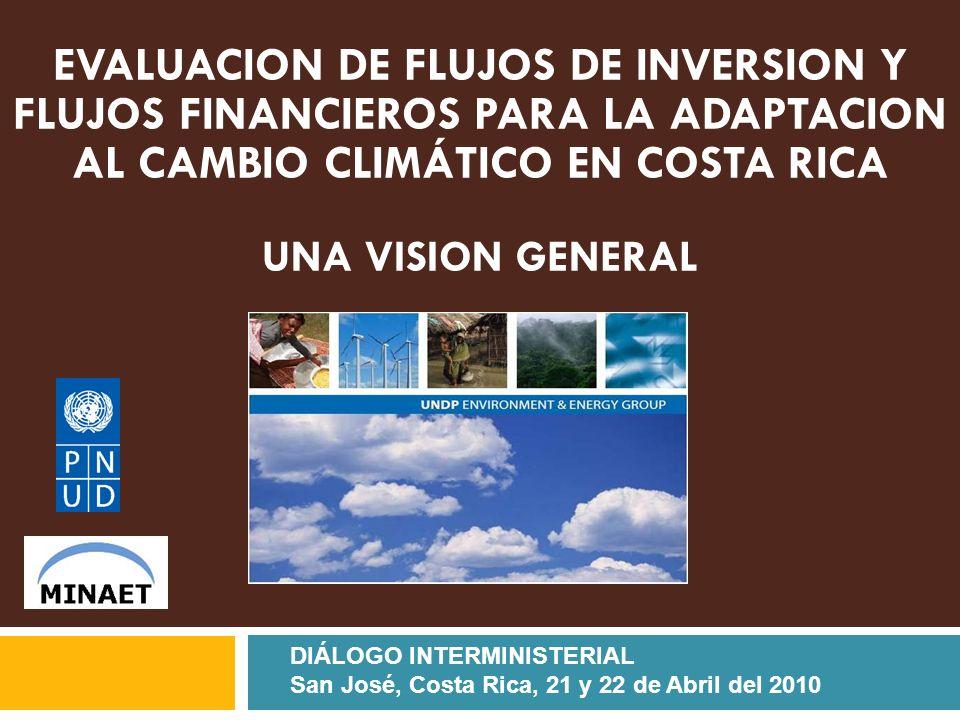 EVALUACION DE FLUJOS DE INVERSION Y FLUJOS FINANCIEROS PARA LA ADAPTACION AL CAMBIO CLIMÁTICO EN COSTA RICA UNA VISION GENERAL DIÁLOGO INTERMINISTERIAL San José, Costa Rica, 21 y 22 de Abril del 2010