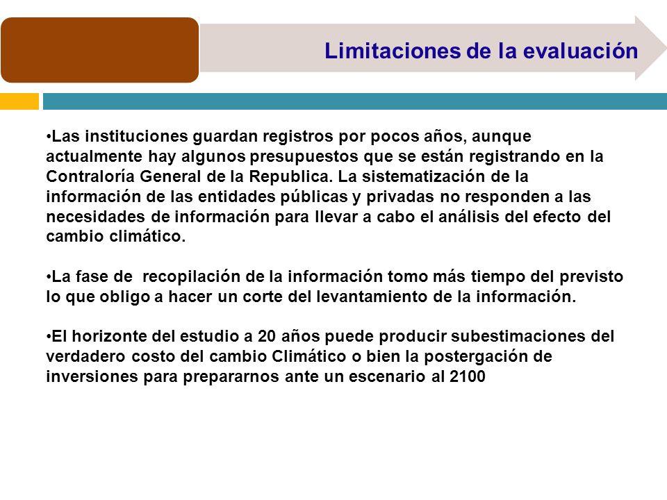 Limitaciones de la evaluación Las instituciones guardan registros por pocos años, aunque actualmente hay algunos presupuestos que se están registrando en la Contraloría General de la Republica.