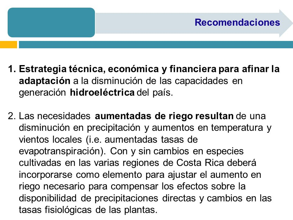 Recomendaciones 1.Estrategia técnica, económica y financiera para afinar la adaptación a la disminución de las capacidades en generación hidroeléctrica del país.