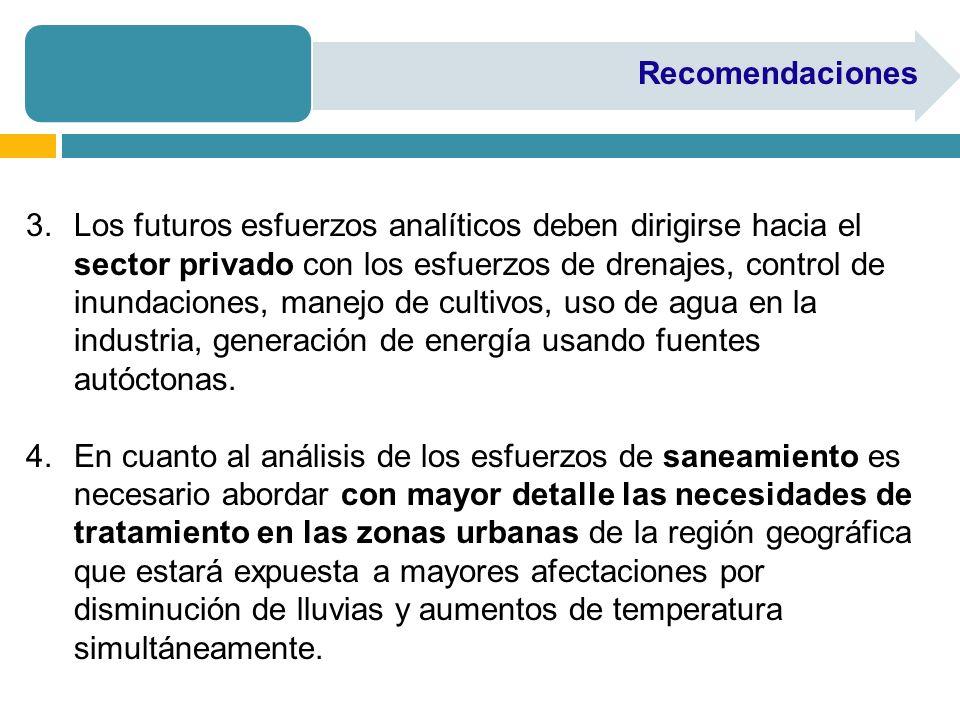 Recomendaciones 3.Los futuros esfuerzos analíticos deben dirigirse hacia el sector privado con los esfuerzos de drenajes, control de inundaciones, manejo de cultivos, uso de agua en la industria, generación de energía usando fuentes autóctonas.