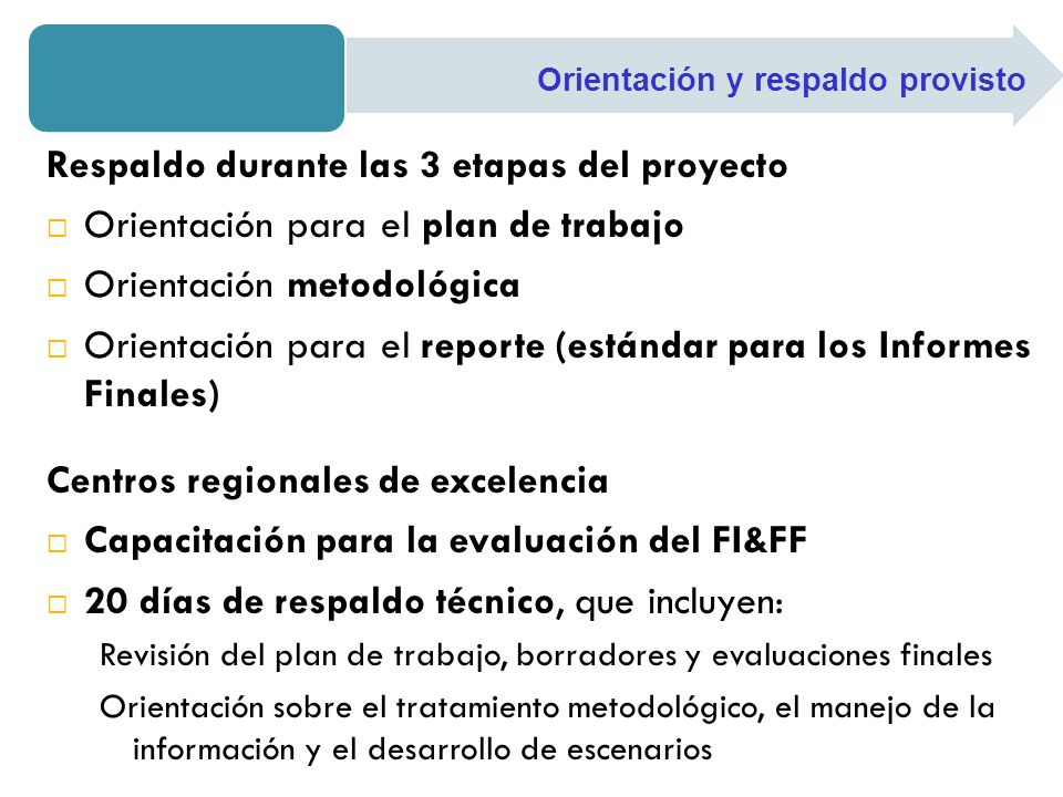 Respaldo durante las 3 etapas del proyecto Orientación para el plan de trabajo Orientación metodológica Orientación para el reporte (estándar para los Informes Finales) Centros regionales de excelencia Capacitación para la evaluación del FI&FF 20 días de respaldo técnico, que incluyen: Revisión del plan de trabajo, borradores y evaluaciones finales Orientación sobre el tratamiento metodológico, el manejo de la información y el desarrollo de escenarios Orientación y respaldo provisto