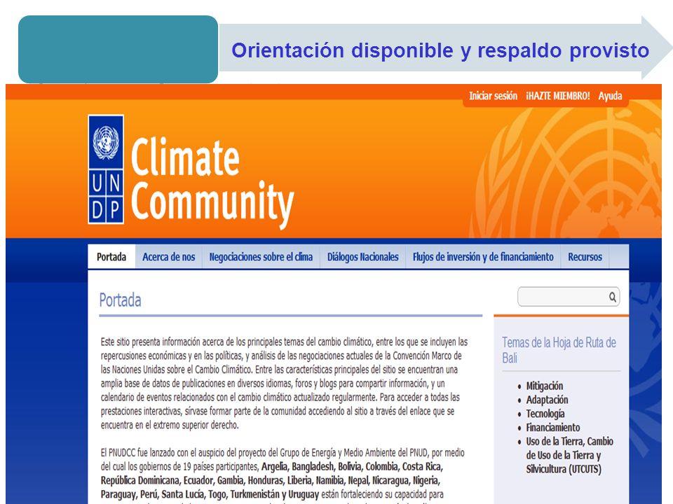 Orientación disponible y respaldo provisto Plataforma de conocimiento - WWW.UNDPCC.ORG Espacio público Ofrece una base de datos con documentos relativ