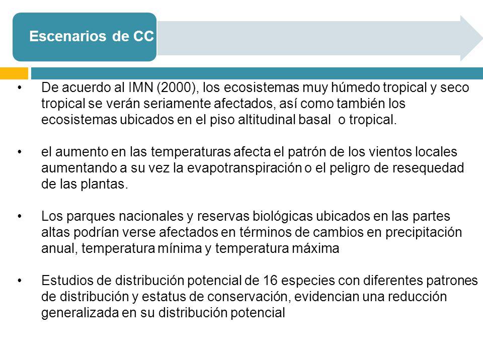 Escenarios de CC De acuerdo al IMN (2000), los ecosistemas muy húmedo tropical y seco tropical se verán seriamente afectados, así como también los ecosistemas ubicados en el piso altitudinal basal o tropical.