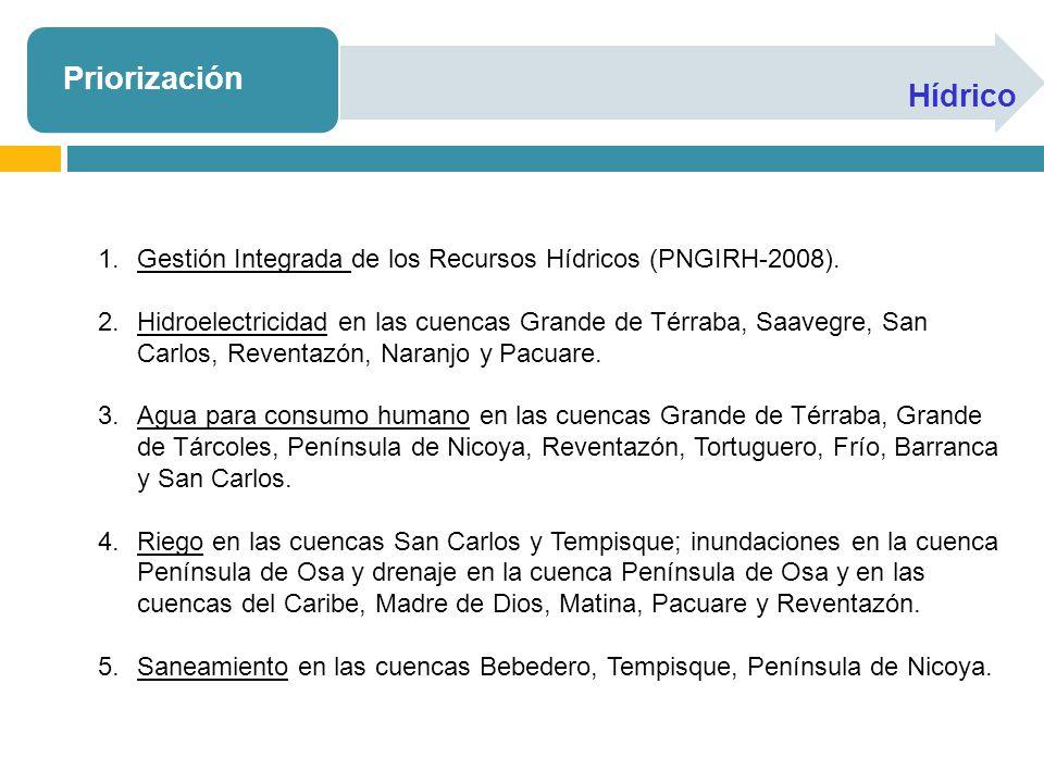 Priorización Hídrico 1.Gestión Integrada de los Recursos Hídricos (PNGIRH-2008). 2.Hidroelectricidad en las cuencas Grande de Térraba, Saavegre, San C