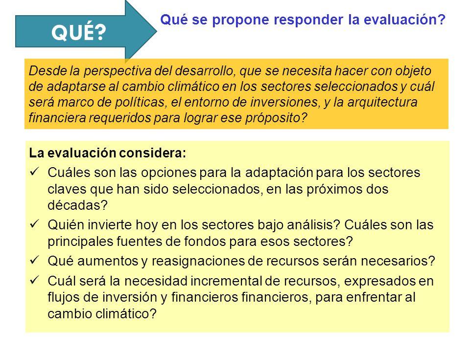 QUÉ ? La evaluación considera: Cuáles son las opciones para la adaptación para los sectores claves que han sido seleccionados, en las próximos dos déc