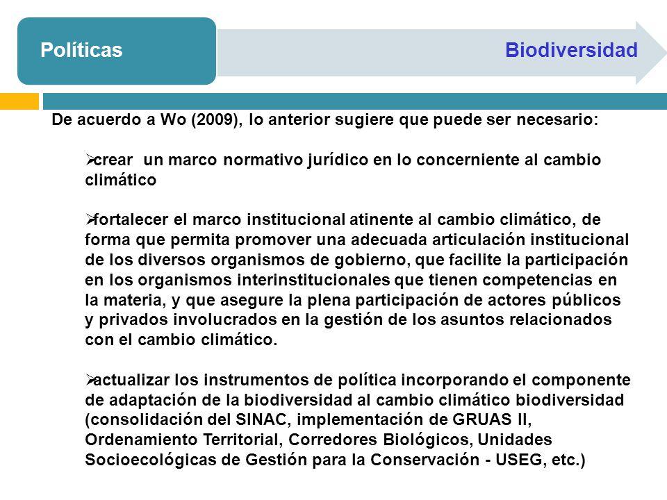 PolíticasBiodiversidad De acuerdo a Wo (2009), lo anterior sugiere que puede ser necesario: crear un marco normativo jurídico en lo concerniente al ca