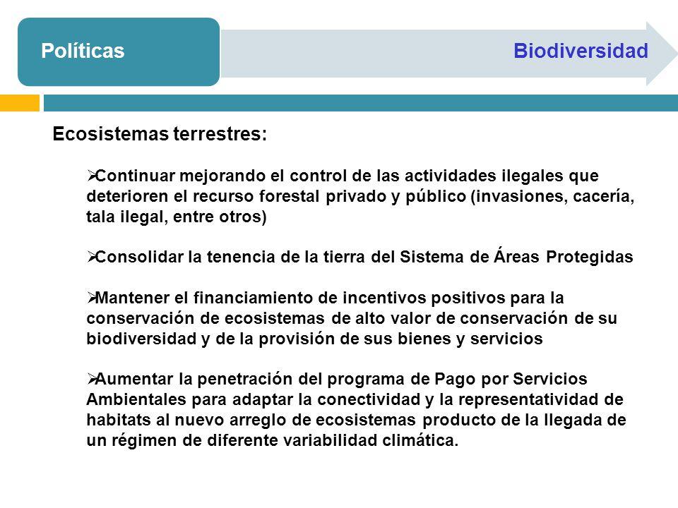 PolíticasBiodiversidad Ecosistemas terrestres: Continuar mejorando el control de las actividades ilegales que deterioren el recurso forestal privado y público (invasiones, cacería, tala ilegal, entre otros) Consolidar la tenencia de la tierra del Sistema de Áreas Protegidas Mantener el financiamiento de incentivos positivos para la conservación de ecosistemas de alto valor de conservación de su biodiversidad y de la provisión de sus bienes y servicios Aumentar la penetración del programa de Pago por Servicios Ambientales para adaptar la conectividad y la representatividad de habitats al nuevo arreglo de ecosistemas producto de la llegada de un régimen de diferente variabilidad climática.