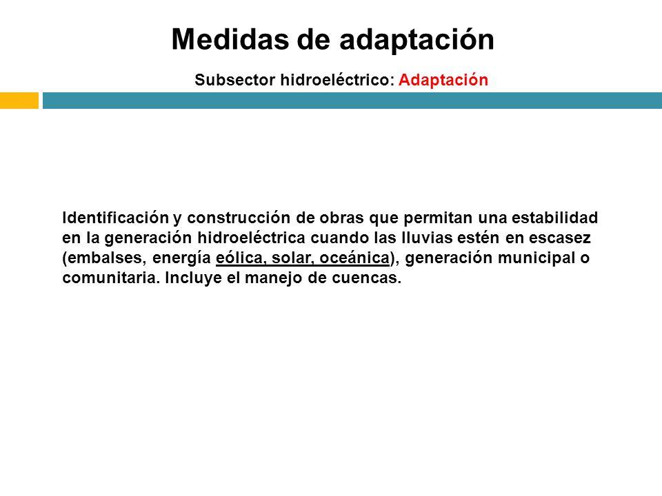 Subsector hidroeléctrico: Adaptación Medidas de adaptación Identificación y construcción de obras que permitan una estabilidad en la generación hidroe