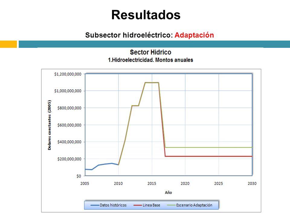 Subsector hidroeléctrico: Adaptación Resultados