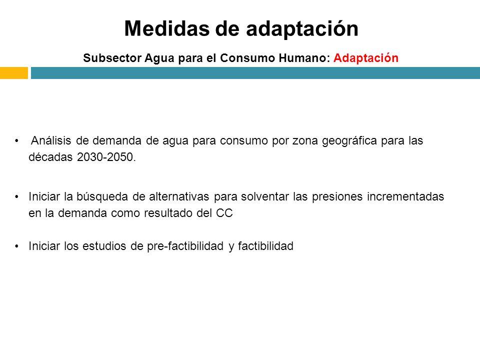 Medidas de adaptación Subsector Agua para el Consumo Humano: Adaptación Análisis de demanda de agua para consumo por zona geográfica para las décadas