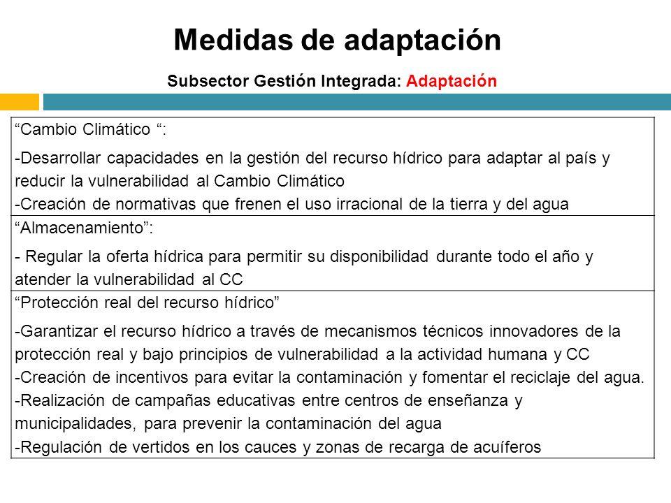 Medidas de adaptación Subsector Gestión Integrada: Adaptación Cambio Climático : -Desarrollar capacidades en la gestión del recurso hídrico para adapt