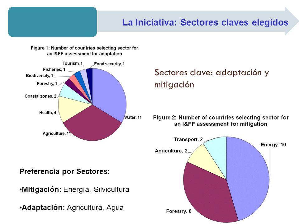 La Iniciativa: Sectores claves elegidos Sectores clave: adaptación y mitigación Preferencia por Sectores: Mitigación: Energía, Silvicultura Adaptación: Agricultura, Agua
