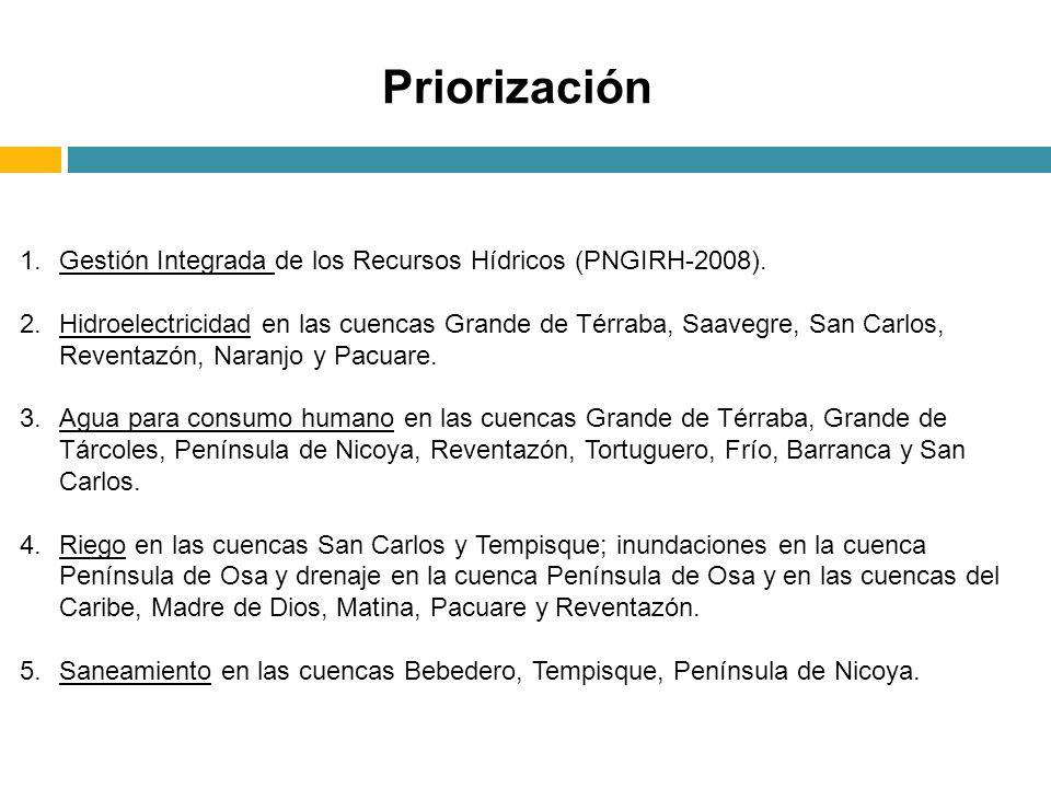 1.Gestión Integrada de los Recursos Hídricos (PNGIRH-2008). 2.Hidroelectricidad en las cuencas Grande de Térraba, Saavegre, San Carlos, Reventazón, Na