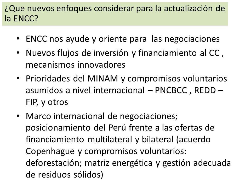 ENCC nos ayude y oriente para las negociaciones Nuevos flujos de inversión y financiamiento al CC, mecanismos innovadores Prioridades del MINAM y comp