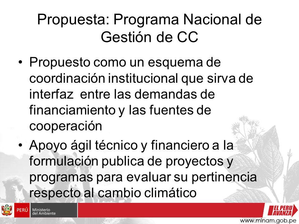 Propuesta: Programa Nacional de Gestión de CC Propuesto como un esquema de coordinación institucional que sirva de interfaz entre las demandas de fina