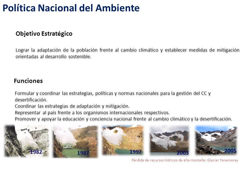Política Nacional del Ambiente Objetivo en el Eje Política sobre conservación y Aprovechamiento sostenible de los RRNN y DB: Lograr la adaptación de la población frente al cambio climático y establecer medidas de mitigación, orientados al desarrollo sostenible.