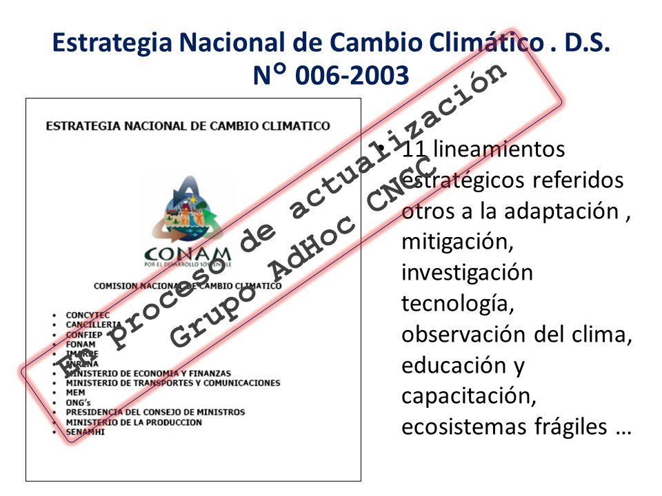 11 lineamientos estratégicos referidos otros a la adaptación, mitigación, investigación tecnología, observación del clima, educación y capacitación, e