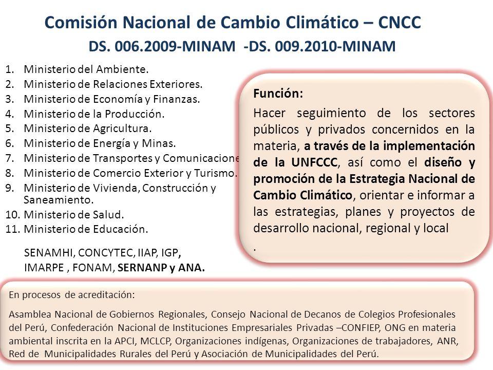 Grupos Técnicos de la CNCC 1.Adaptación (SENAMHI) Elaboración de Lineamientos para la Adaptación 2.Mitigación y MDL (FONAM) En proceso de aprobación de Lineamientos para la Mitigación del CC.