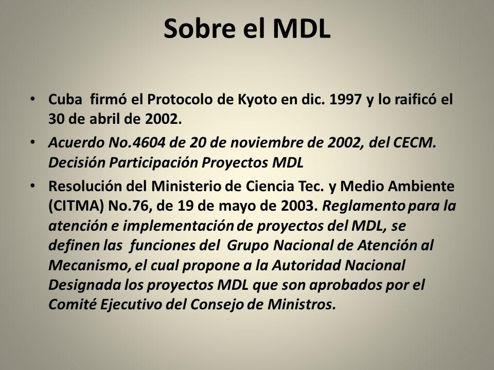 Sobre el MDL Cuba firmó el Protocolo de Kyoto en dic.