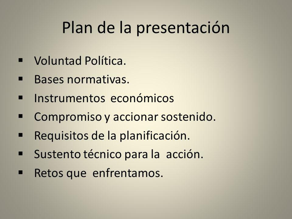 Plan de la presentación Voluntad Política. Bases normativas.