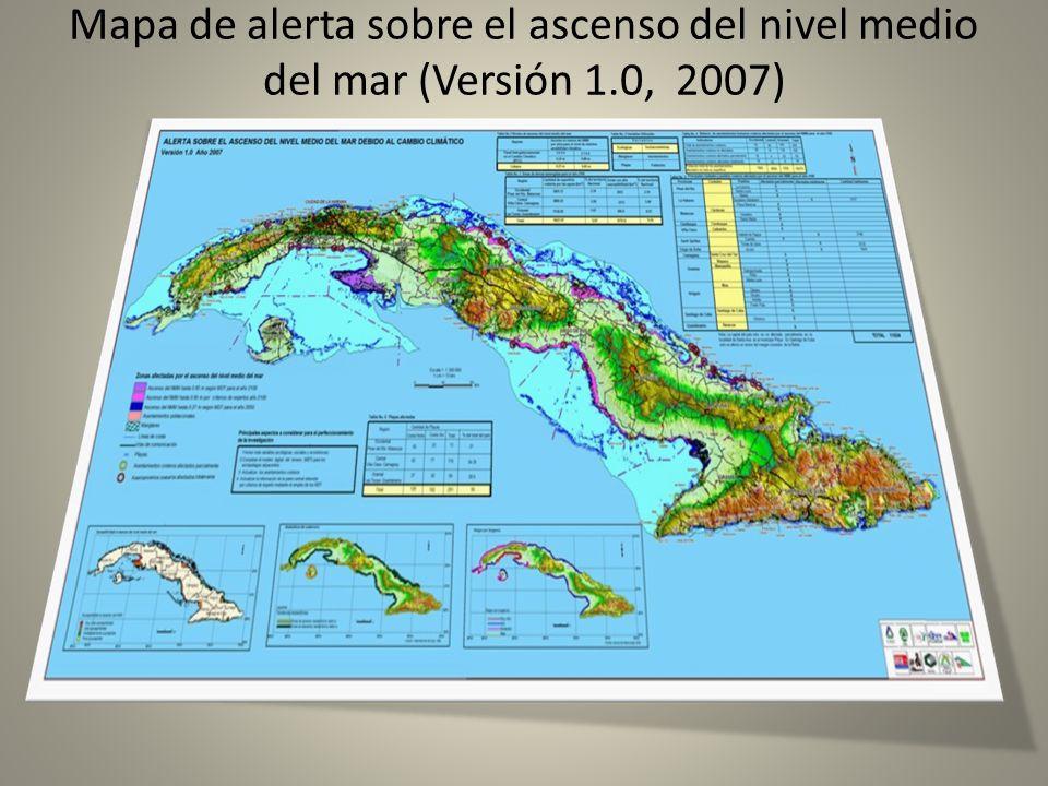Mapa de alerta sobre el ascenso del nivel medio del mar (Versión 1.0, 2007)
