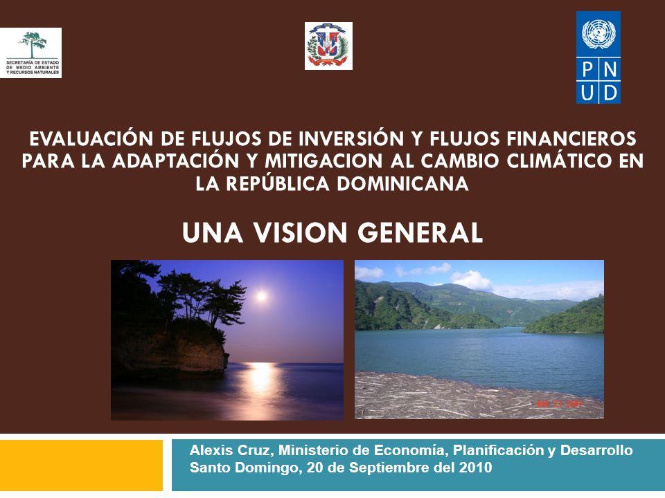 MetodologíaPasos 5.Definir los escenarios de adaptación y mitigación 6.Calcular Flujos de Inversión y Flujos Financieros de los escenarios de adaptación y mitigación 7.Calcular los cambios en los Flujos de Inversión y en los Flujos Financieros para implementar la adaptación y mitigación 8.Evaluar las repercusiones en materia de políticas y evaluar nuevas opciones de política 9.Compilar y comparar las evaluaciones por sector
