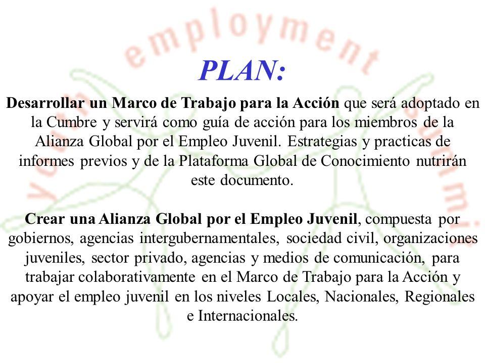 PLAN: Desarrollar un Marco de Trabajo para la Acción que será adoptado en la Cumbre y servirá como guía de acción para los miembros de la Alianza Global por el Empleo Juvenil.