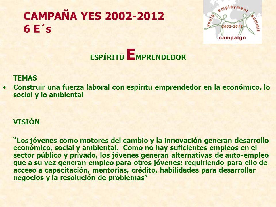 CAMPAÑA YES 2002-2012 6 E´s ESPÍRITU E MPRENDEDOR TEMAS Construir una fuerza laboral con espíritu emprendedor en la económico, lo social y lo ambiental VISIÓN Los jóvenes como motores del cambio y la innovación generan desarrollo económico, social y ambiental.