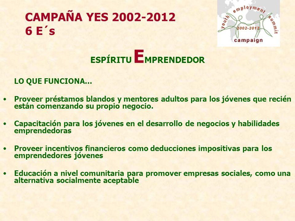 CAMPAÑA YES 2002-2012 6 E´s ESPÍRITU E MPRENDEDOR LO QUE FUNCIONA… Proveer préstamos blandos y mentores adultos para los jóvenes que recién están comenzando su propio negocio.