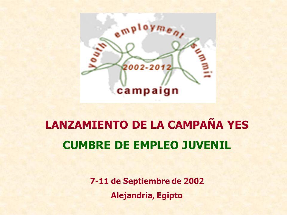 LANZAMIENTO DE LA CAMPAÑA YES CUMBRE DE EMPLEO JUVENIL 7-11 de Septiembre de 2002 Alejandría, Egipto