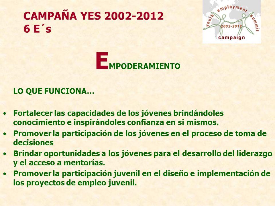 CAMPAÑA YES 2002-2012 6 E´s E MPODERAMIENTO LO QUE FUNCIONA… Fortalecer las capacidades de los jóvenes brindándoles conocimiento e inspirándoles confianza en si mismos.